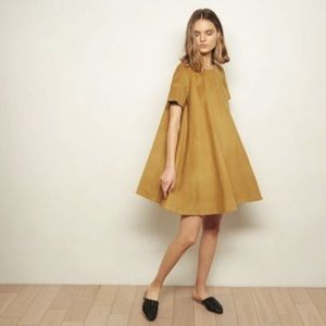 {the odells} gold corduroy tent dress